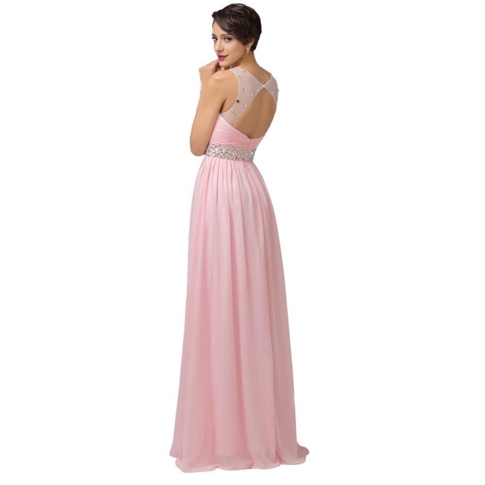 Pink Long Backless Bridesmaid Dress