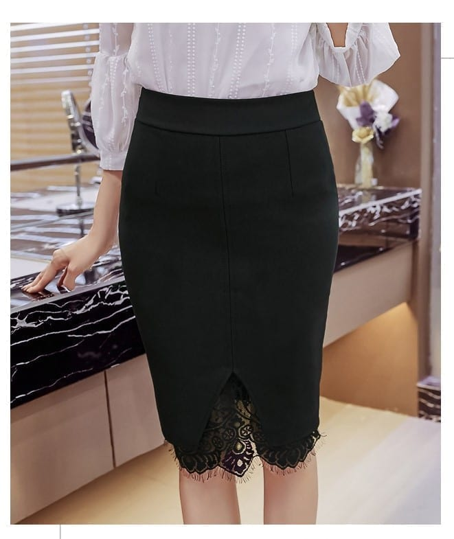 High Waist Lace Embroidery Open Slit Elegant Office Skirt