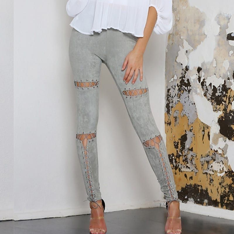 Suede Stretch Pleated Elastic Hollow Out Lace-up Bandage Pants Leggings