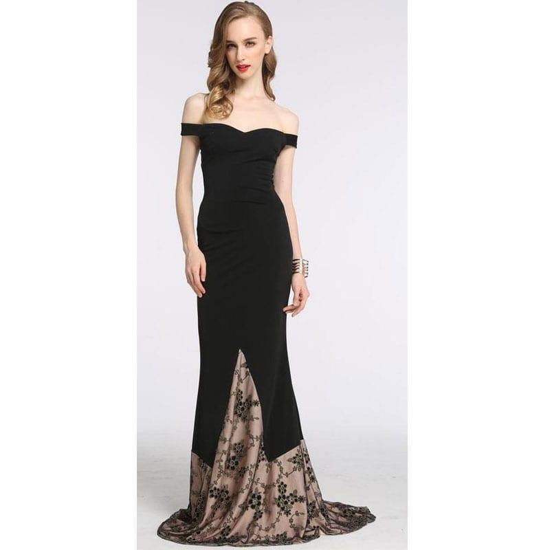 Slash Neck Strapless Patchwork Bodycon Long Party Dress