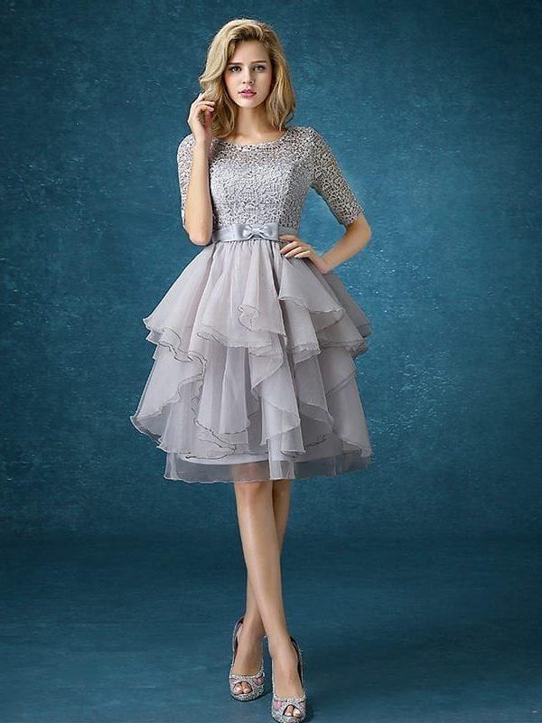 Half Sleeve Back Lace Up Gray Bridesmaid Dress