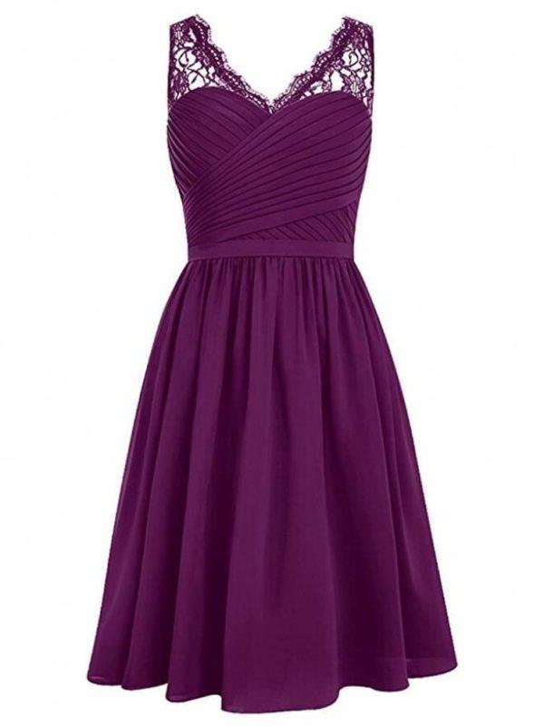 Grape V-neck Lace Shoulder Sleeveless Chiffon Short Bridesmaid Dress