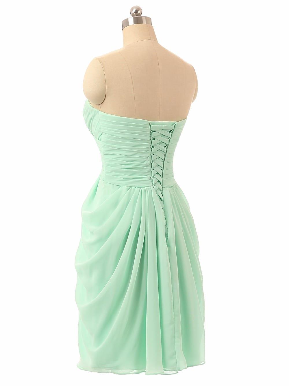 Sweetheart Chiffon Beach Mint Green Bridesmaid Dress