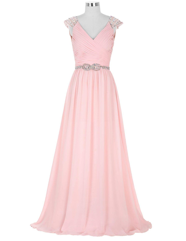 Pink Chiffon V Neck Beaded A Line Capped Sleeve Maid Of Honor Long Bridesmaid Dress