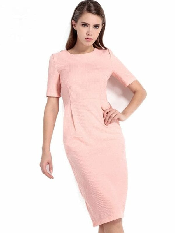 Pink Short Sleeve O Neck Cute Bodycon Dress