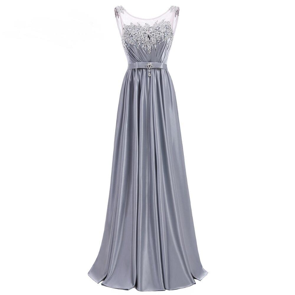 Sleeveless Satin Gray Long Bridesmaid Dress