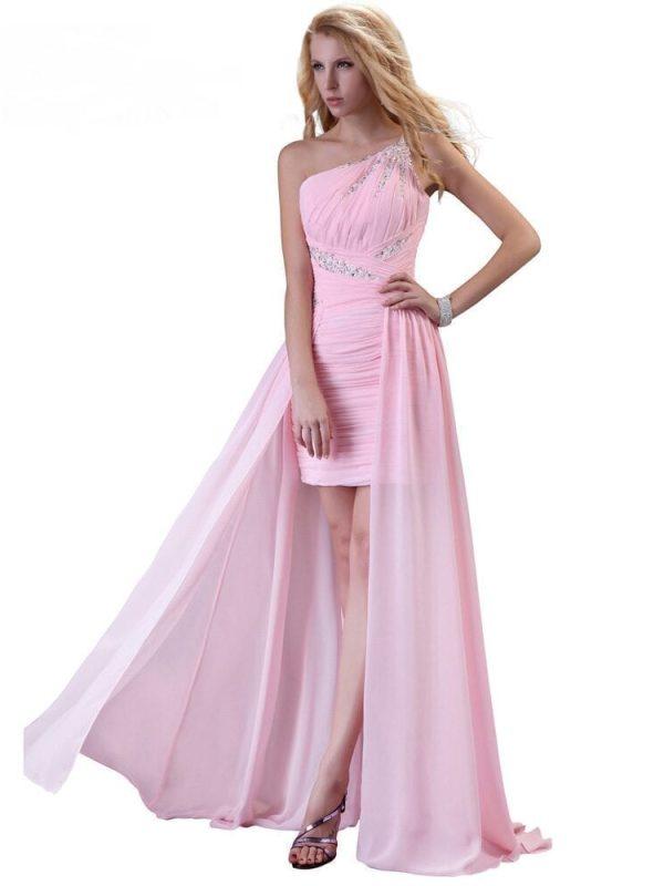 Elegant One Shoulder Pink Short Front Long Back Chiffon Bridesmaid Dress