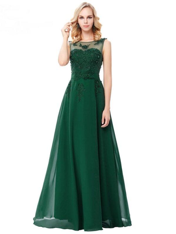 Elegant Chiffon Green Long Bridesmaid Dress