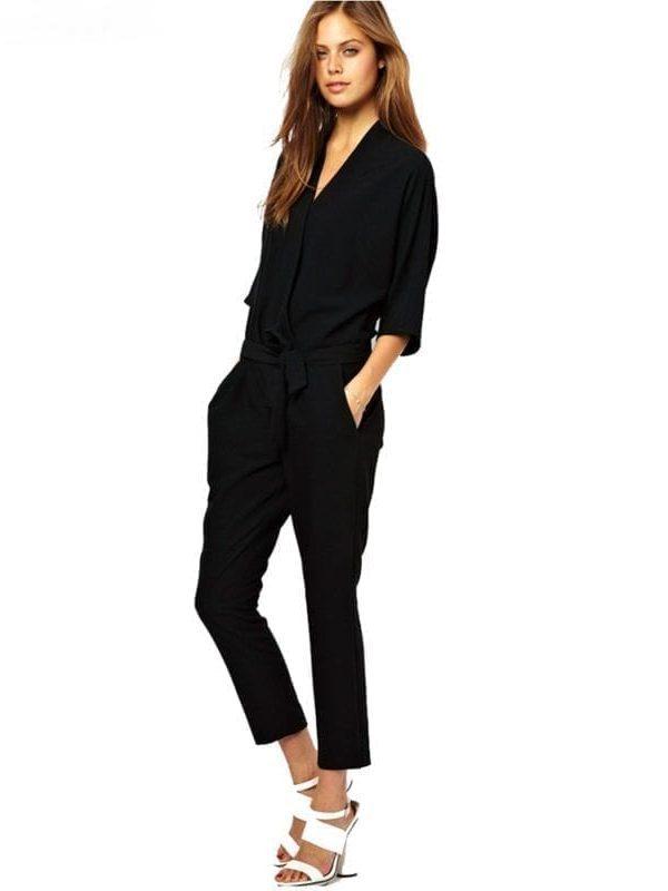 Elegant Black Navy Blue Chiffon Jumpsuit