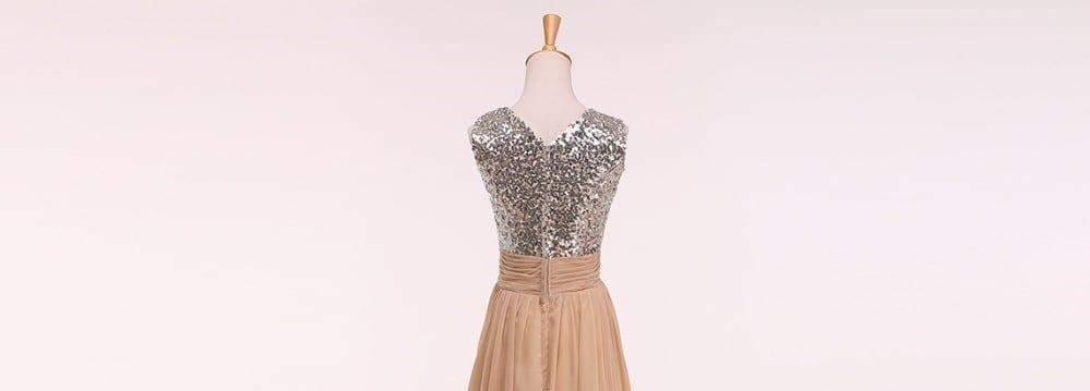 Champagne And Silver Elegant V Neck Long Sequin Bridesmaid Dress