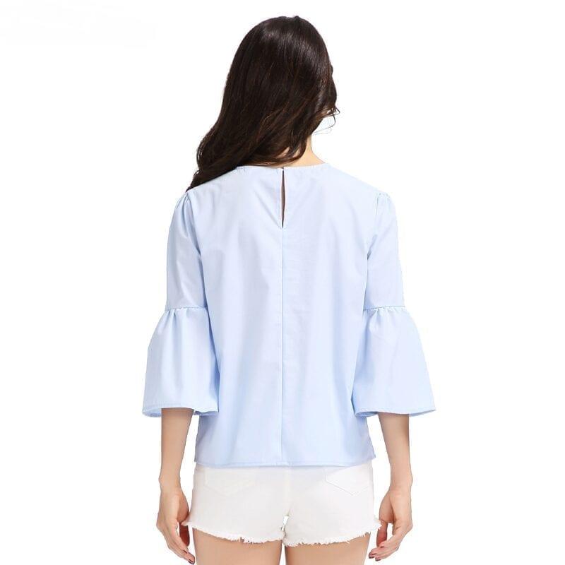 Elegant Pearls Beading Three Quarter Flare Sleeve O Neck Blouse Shirt