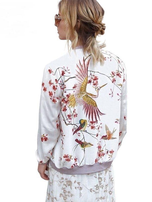 Stand Collar Zipper Print White Bomber Jacket