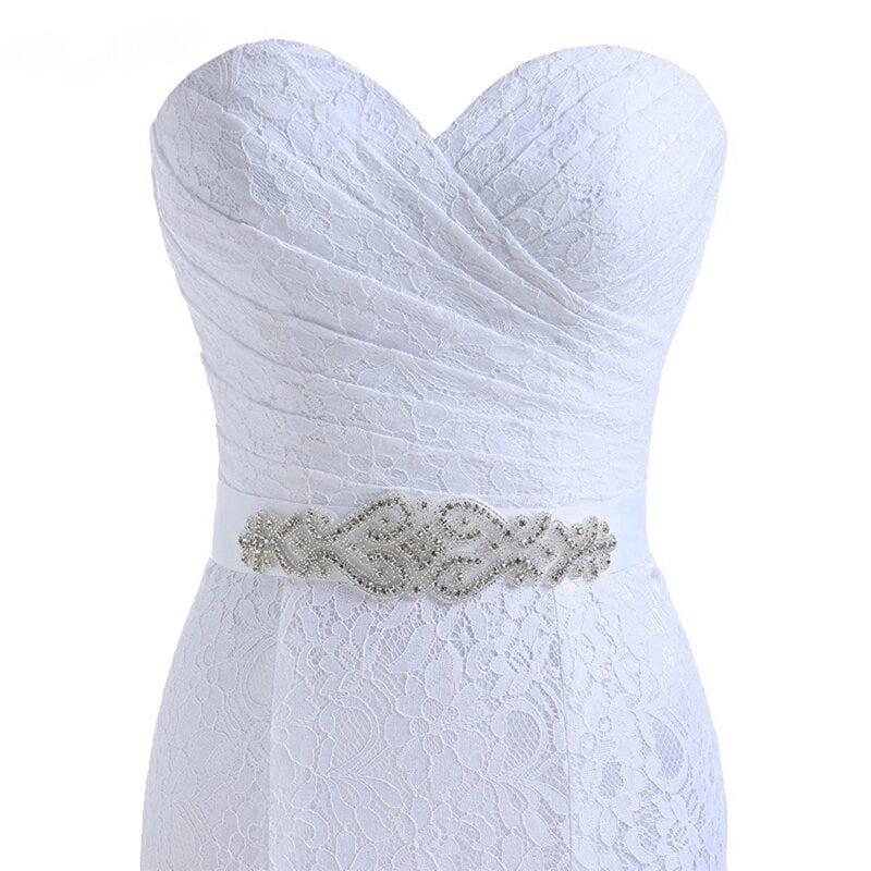 Elegant Sweetheart White Lace Mermaid Wedding Dress With Belt