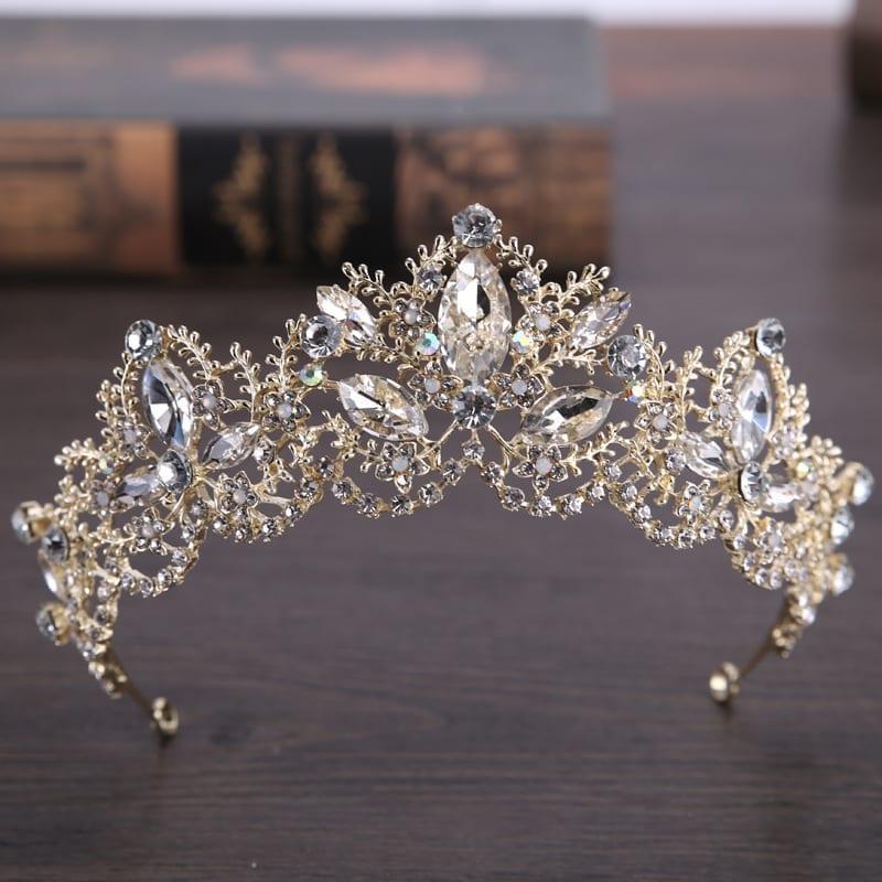 Light Gold Baroque Luxury Crystal Bridal Crown Tiara Wedding Hair Accessories