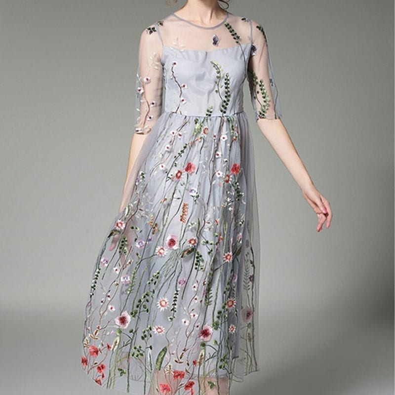 Floral Embroidered Mesh See Through A-line Midi Dress