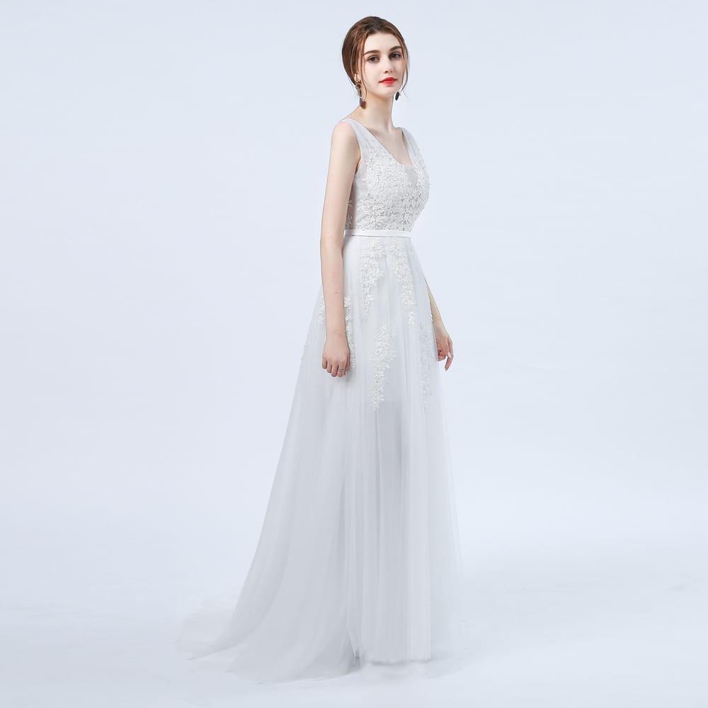 White Open Back Lace Vintage Boho Beach Wedding Dress
