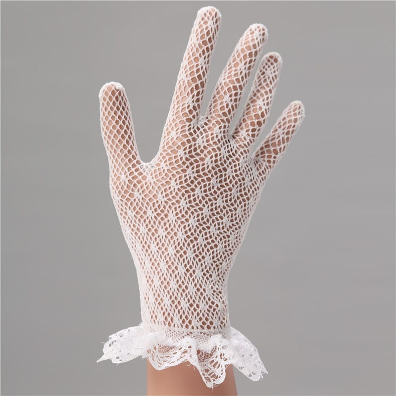 Elegant White Lace Short Finger Wrist Wedding Gloves