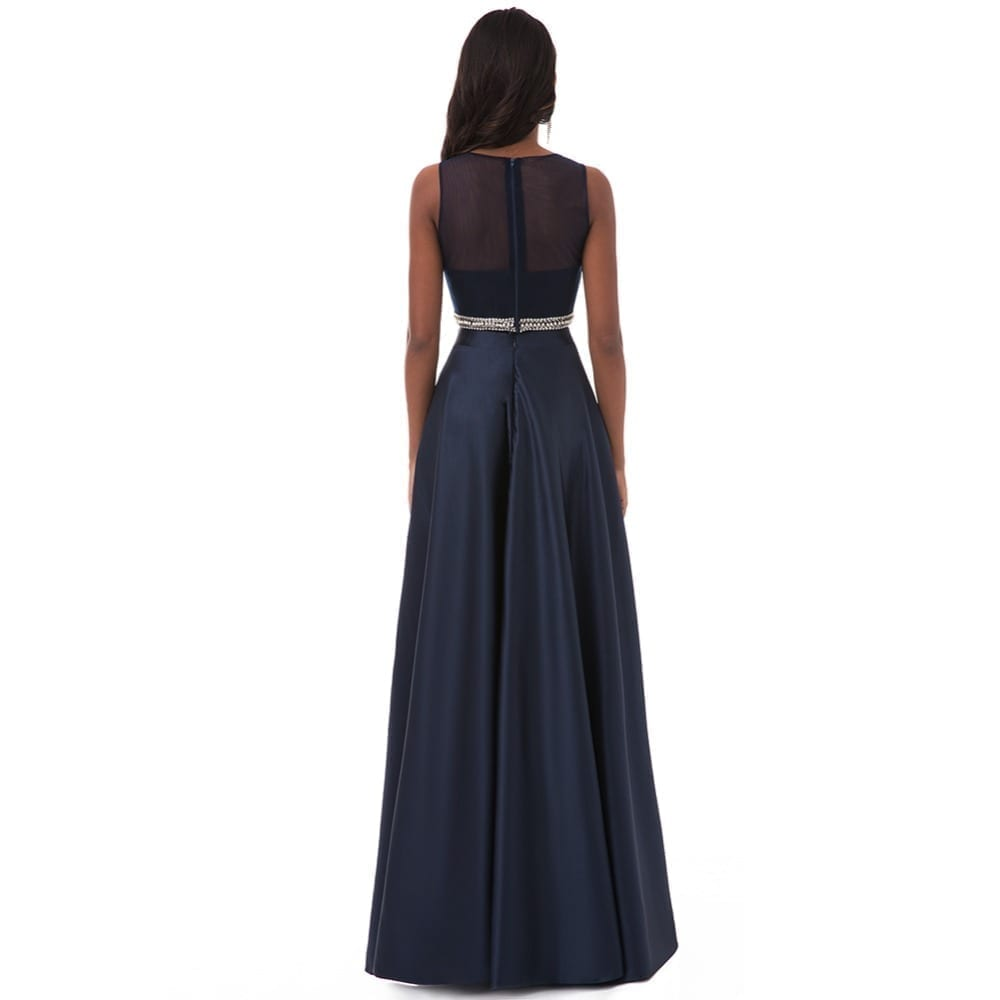 A Line Two Pieces Sleeveless See Through Long Evening Prom Dress