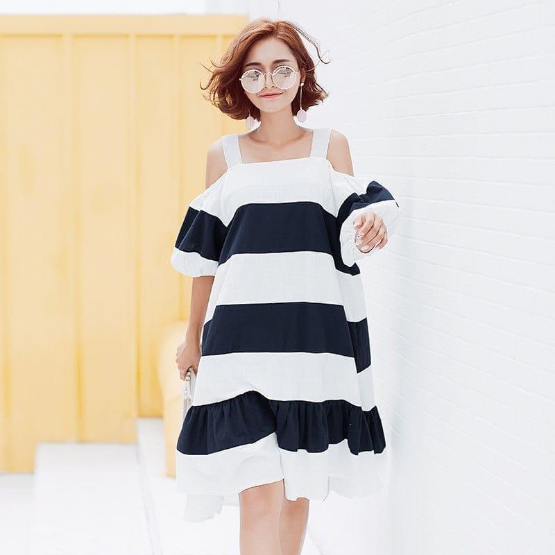 Slash Neck Stripes Bubble Sleeves Loose Dress