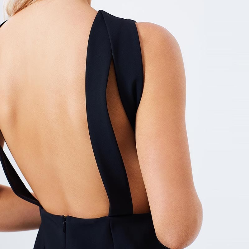 Solid Black Backless Sleeveless High Low Bodycon Dress