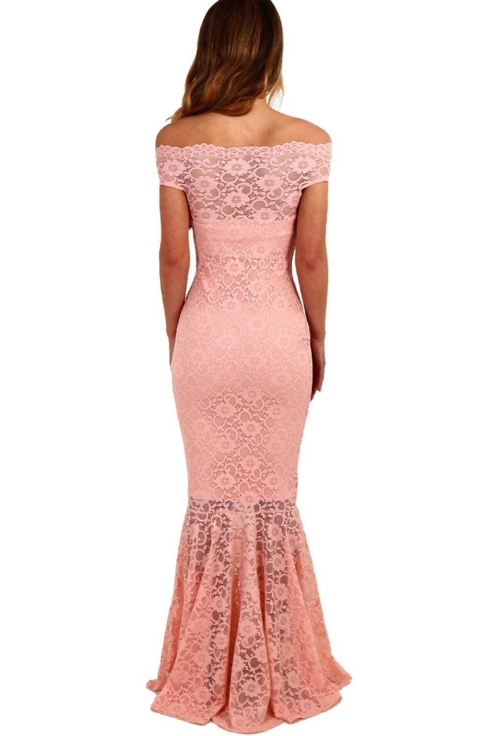 Pink Lace Off Shoulder Hollow Out Maxi Dress
