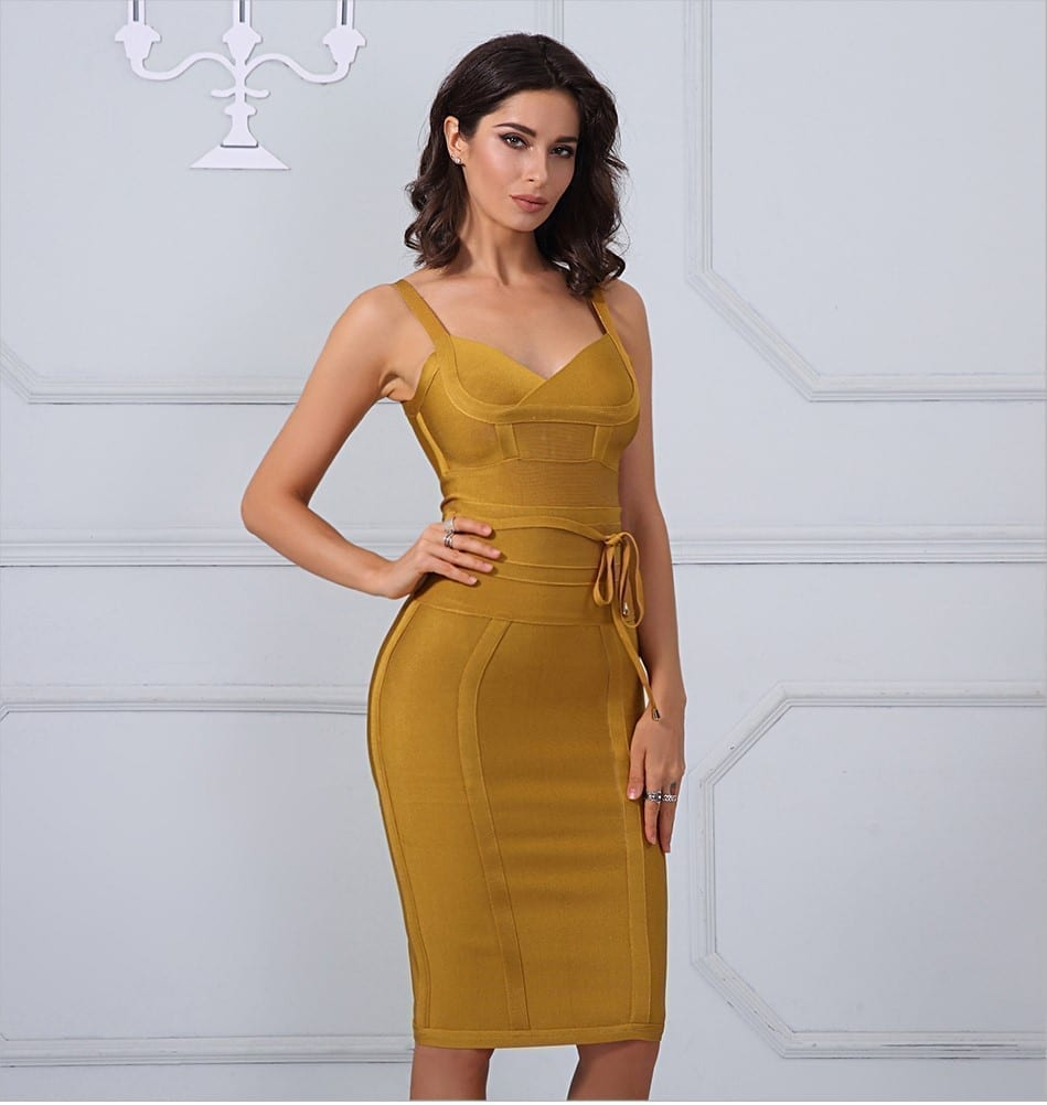 Chic Spaghetti Strap Bandage Bodycon Dress