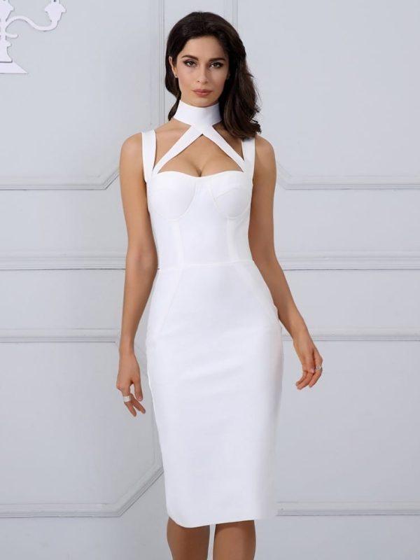 Elegant White Halter Straps Backless Hollow Out Party Bandage Dress