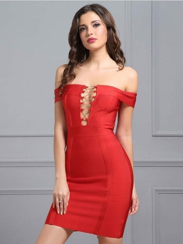 Slash-neck Cut Out Cross Chain Short Sleeve Red Bodycon Dress