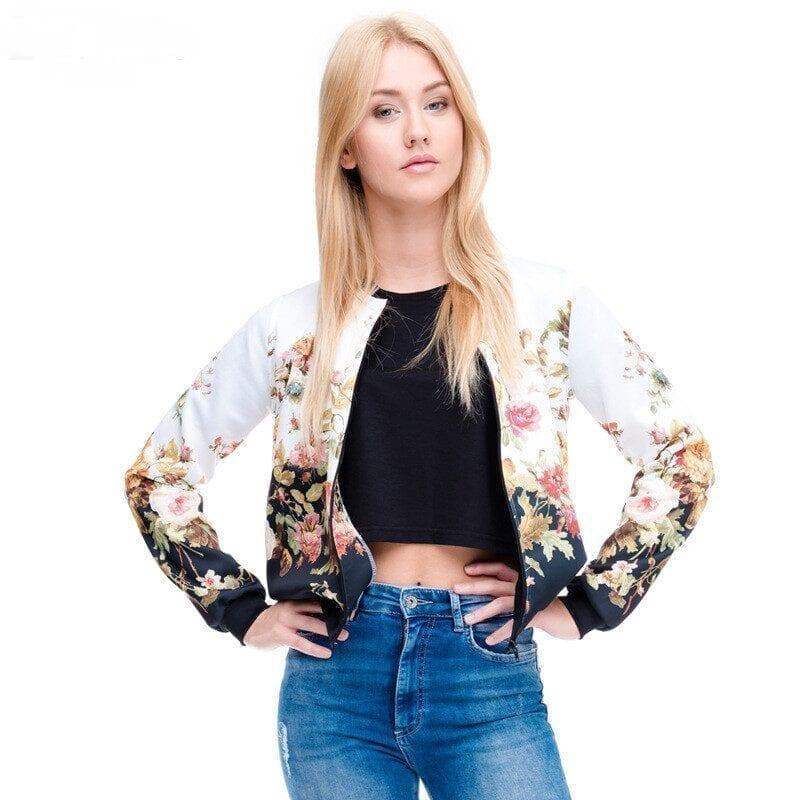 3d Printed Flower Short Basic Bomber Blouse Jacket