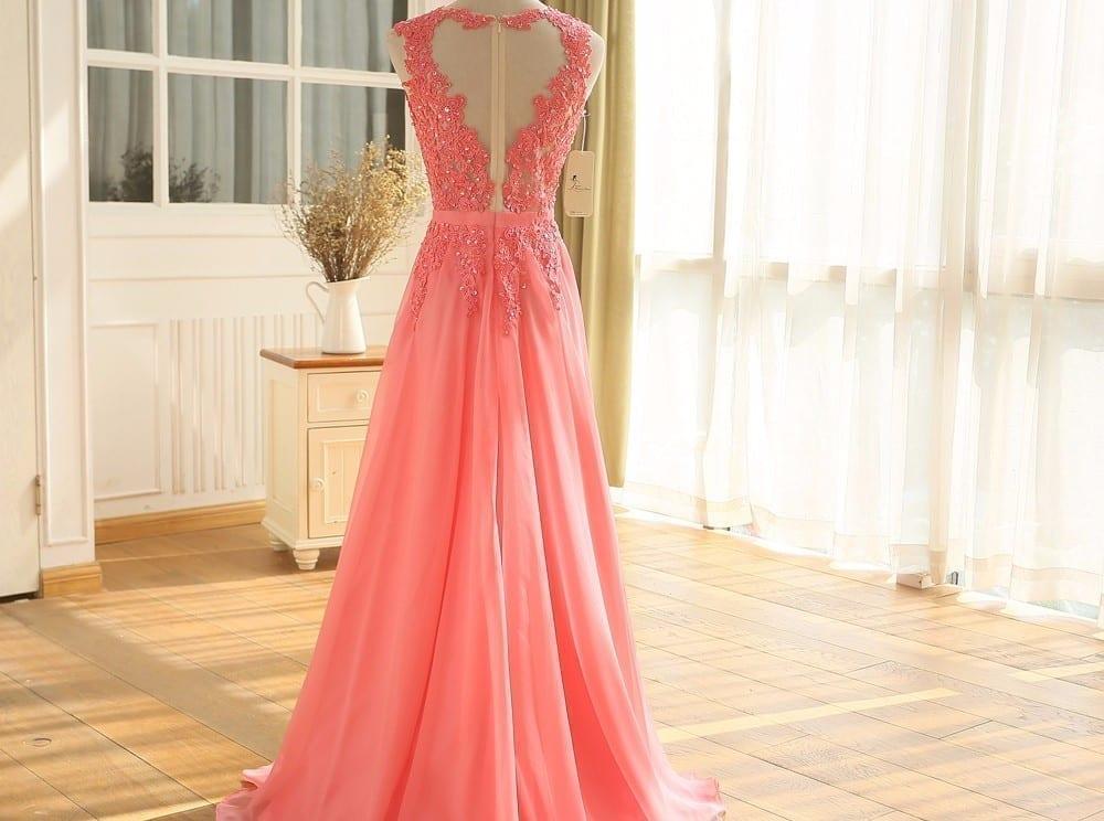 Pink Lace Chiffon Long Bridesmaid Dress