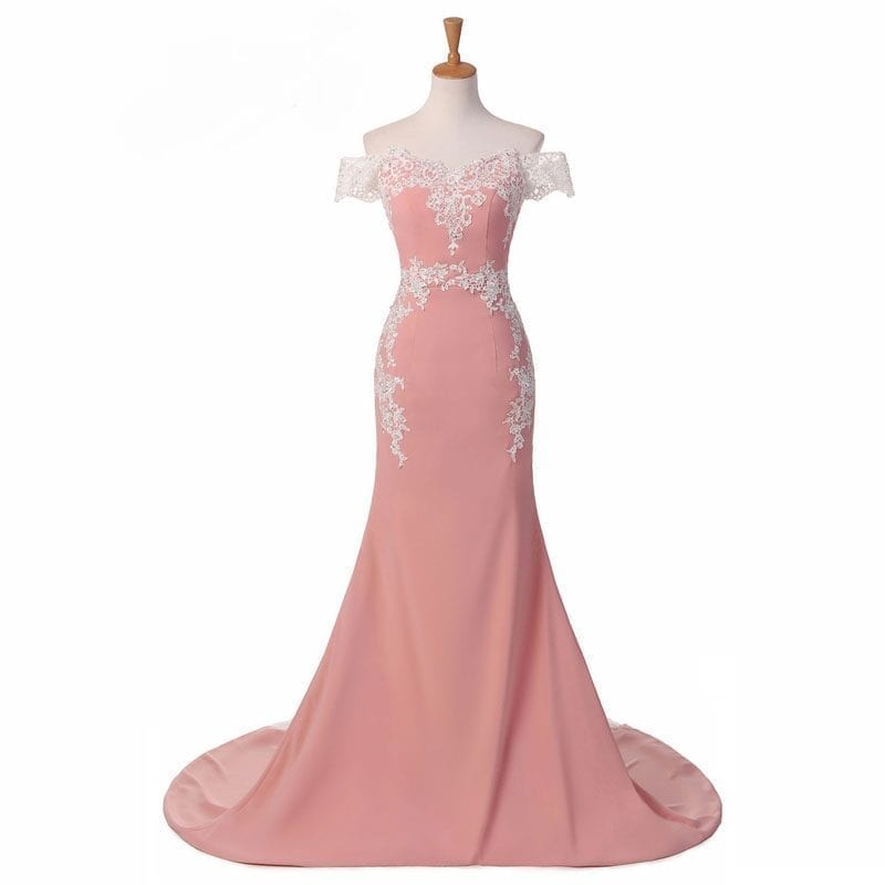 Pink Lace Appliques Off The Shoulder Long Mermaid Maid Of Honor Bridesmaid Dress