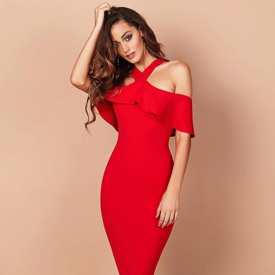 Red Black White Khaki Ruffles Patchwork Off The Shoulder Bandage Dress