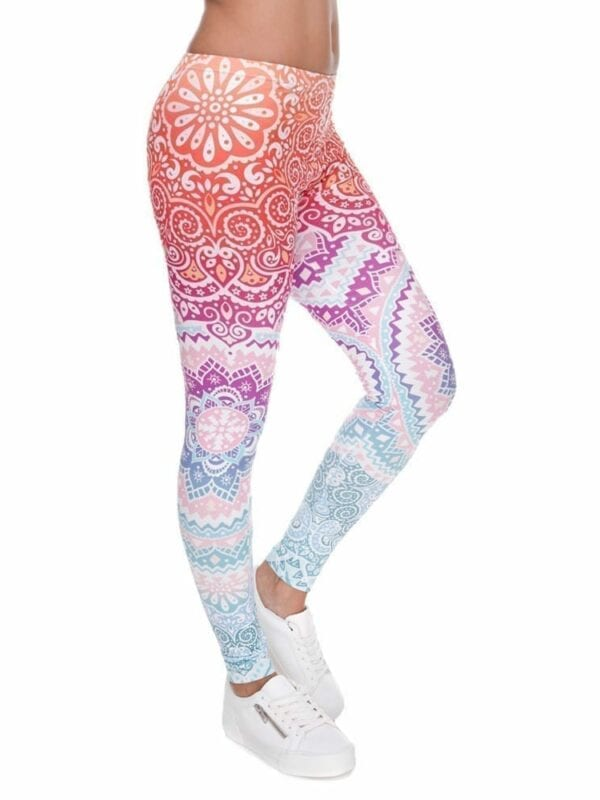 Aztec Round Ombre Printing High Waist  Leggings Woman Pants