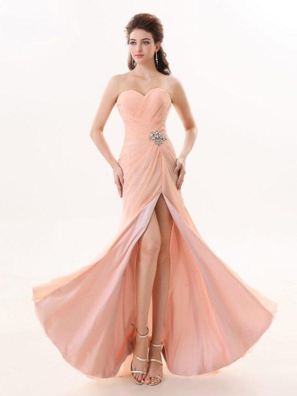 Sweetheart Chiffon Side Slit Long Bridesmaid Dress