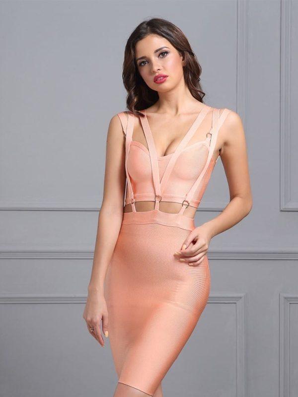 V Neck Sleeveless Hollow Out Mini Bandage Dress