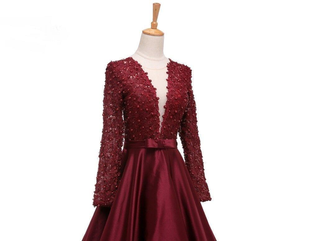 Long Sleeve V-neck Sheer Back Lace A-line Long Prom Dress