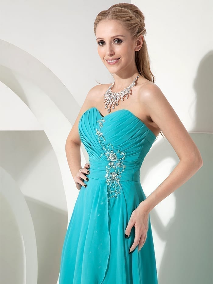 Sweetheart Turquoise Short Front Long Back Beach Country Bridesmaid Dress