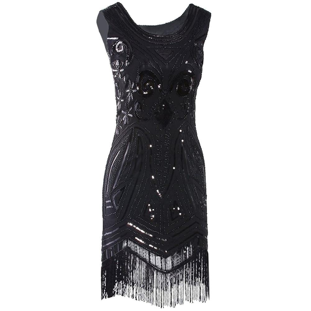 Vintage Great Gatsby Beaded Fringed Sequin Black Midi Dress