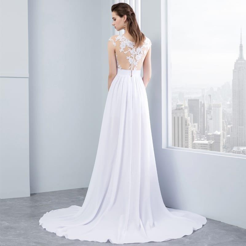 Chiffon Lace Appliqued Cap Short Sleeve Beach Wedding Dress