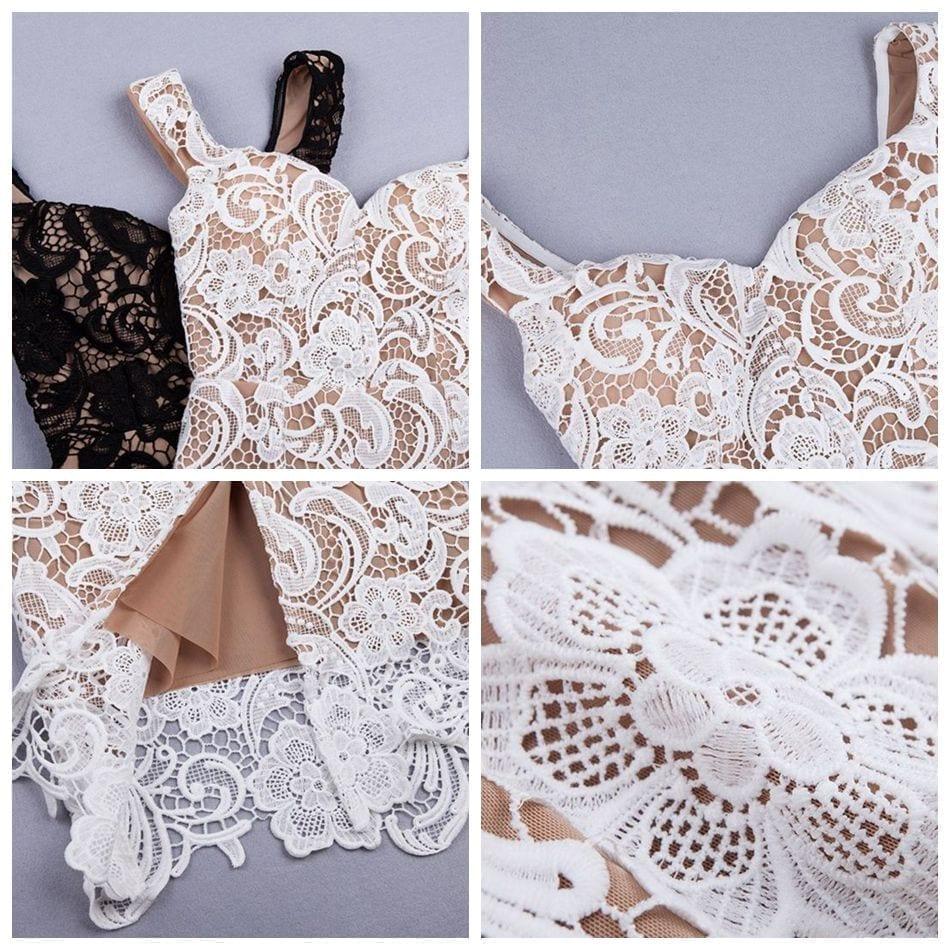 Elegant Black Beige Off Shoulder Lace Dress
