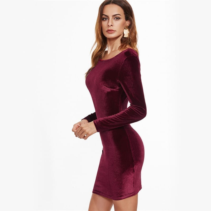 Long Sleeve Burgundy Open Back Velvet Bodycon Dress