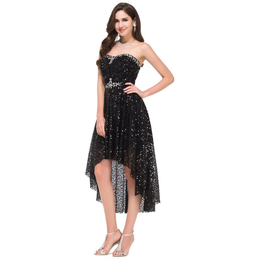 High Low Black Evening Sequins Bridesmaid Dress