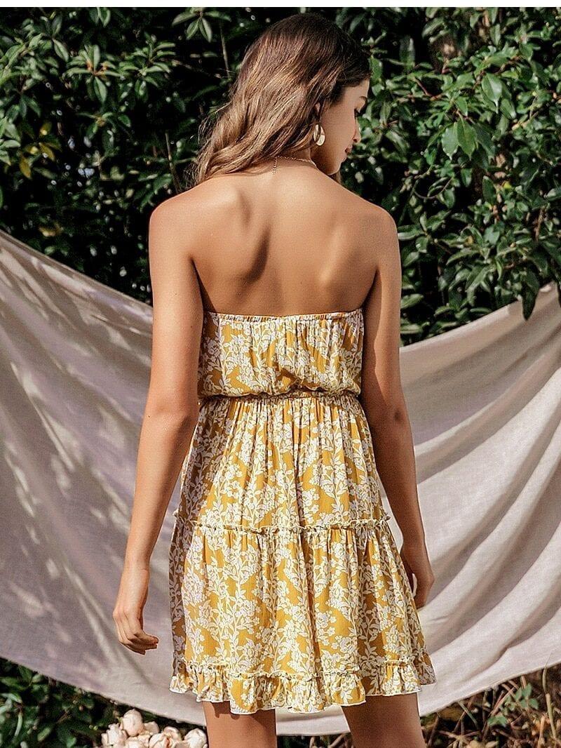Sleeveless Floral Print Elegant Ruffled Mini Dress