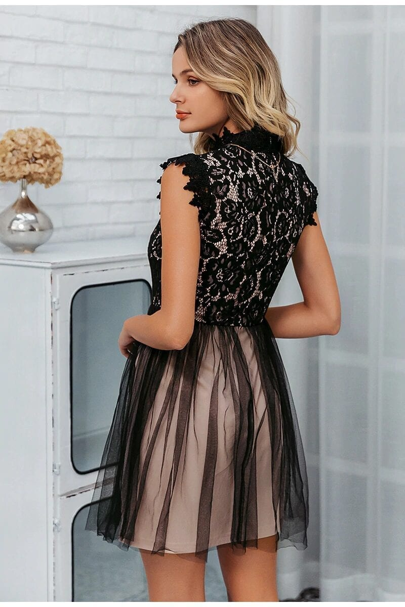 Embroidery Floral Black Sleeveless Lace Bodycon Dress