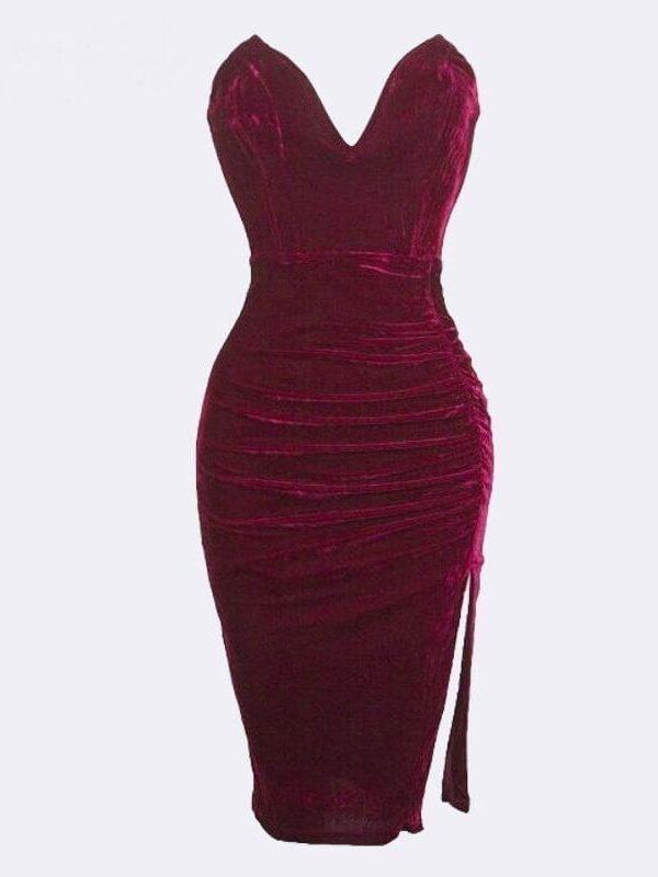 Off The Shoulder Strapless Bodycon Mini Velvet Dress