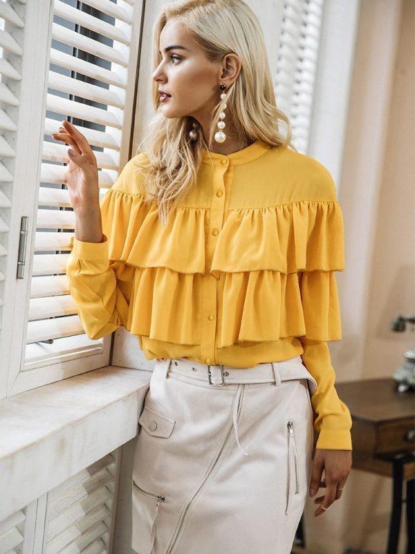Elegant Ruffles Long Sleeve Yellow Blouse Shirt