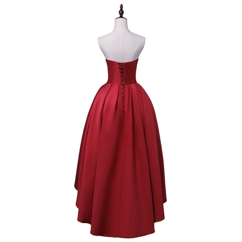 Sweetheart Neck High-low Satin Lace-up Back Prom Dress