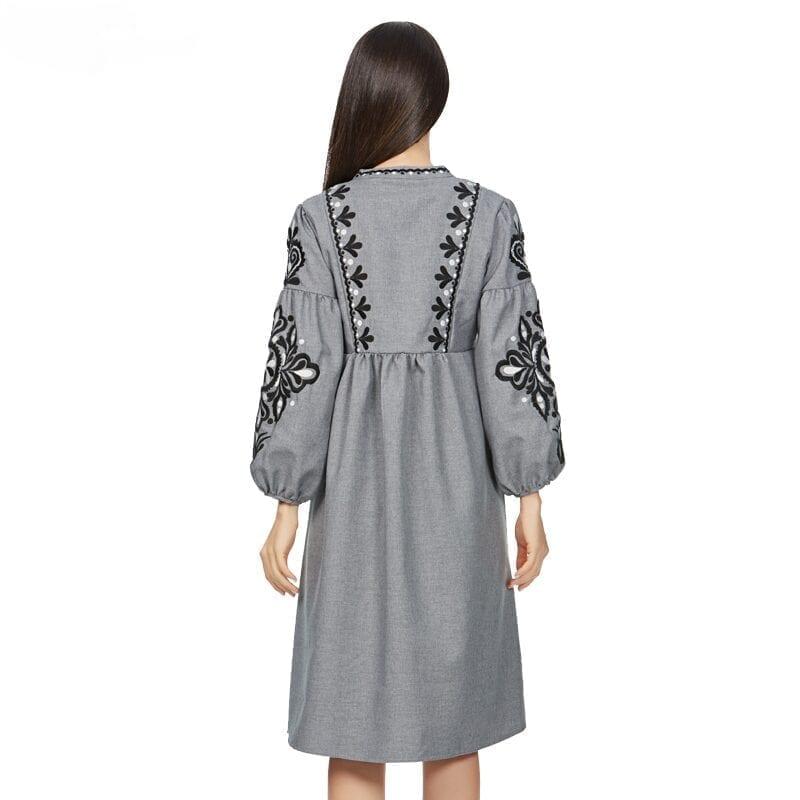 Flower Embroidery Lantern Sleeve Bow Tie O-neck Pleated Retro Vintage Dress