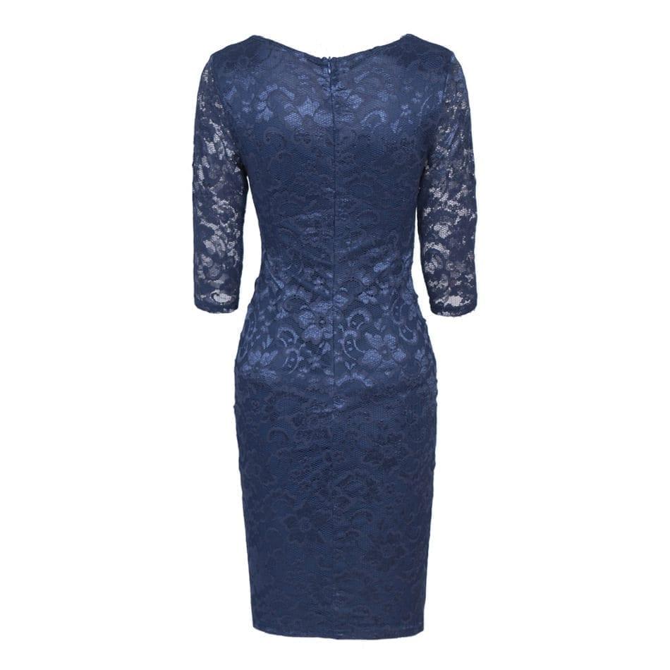 Patchwork Lace Half-sleeve V-neck Sheath Evening Bodycon Party Dress