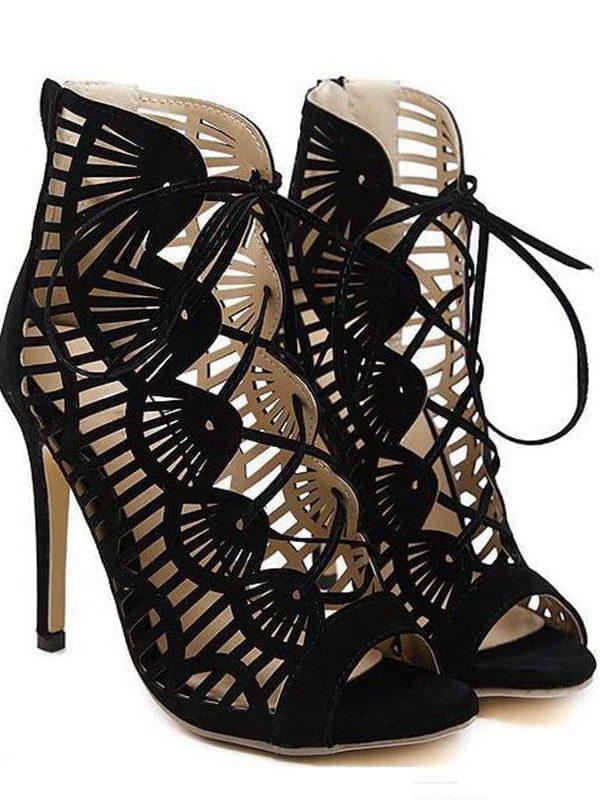 Peep Toe Lace Up Cutouts High Heels Gladiator Pumps